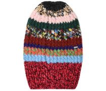 Patchwork-effect Striped Knitted Beanie Multicolor Size ONESIZE
