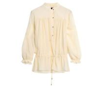 Metallic-trimmed gauze blouse