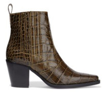 Woman Croc-effect Leather Ankle Boots Brown