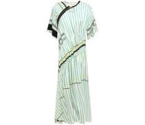 Ruched Zip-detailed Striped Twill Midi Dress Mint