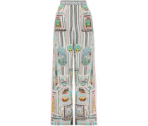 Woman Crystal-embellished Printed Silk Crepe De Chine Wide-leg Pants Baby Pink