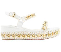 Rondaclou 60 Studded Leather Wedge Sandals White