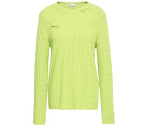 Bow-embellished Cable-knit Sweater Lime Green