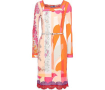 Belted Lace-trimmed Printed Jersey Dress Peach