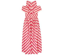 Cold-shoulder Striped Cotton-twill Midi Dress Red