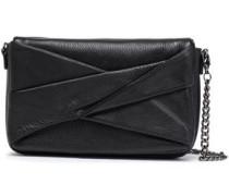 Pleated Pebbled-leather Shoulder Bag Black Size --