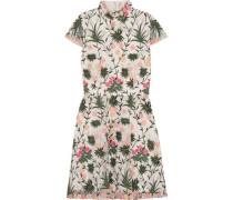 Tari cutout embroidered tulle mini dress