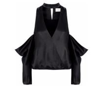 Cold-shoulder cutout silk-satin top