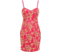 Erica Cutout Embroidered Crepe Mini Dress Bright Pink Size 0