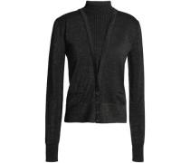 Button-detailed metallic wool-blend sweater