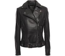 Woman Belted Textured-leather Biker Jacket Black