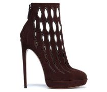 Laser-cut Suede Ankle Boots Chocolate