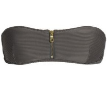 Zip-detailed Bandeau Bikini Top Taupe