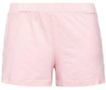 Lace-trimmed Cotton-blend Jersey Pajama Shorts Pastel Pink
