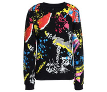 Flocked Printed French Cotton-terry Sweatshirt Black