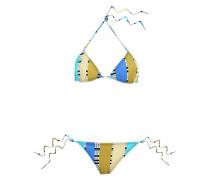 Printed Triangle Bikini Blue