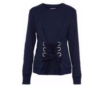Lace-up mélange cotton-blend terry sweatshirt
