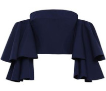 Caia Cropped Off-the-shoulder Ponte Top Navy