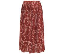 Woman Pleated Printed Crepe Midi Skirt Brown
