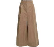 Cotton and linen-blend twill culottes