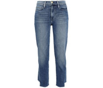 Cropped Faded High-rise Slim-leg Jeans Mid Denim  7