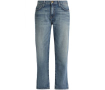 The Boyfriend cropped distressed boyfriend jeans