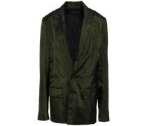 Pinstriped Satin Blazer Dark Green
