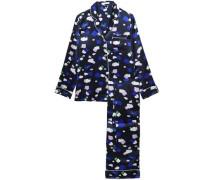 Woman Lila Printed Silk-charmeuse Pajama Set Blue