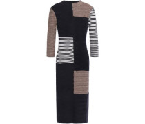 Woman Intarsia Merino Wool And Cotton-blend Dress Navy