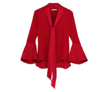 Woman Meredith Tie-neck Satin-trimmed Silk Blouse Red