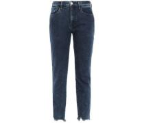 Cropped Distressed High-rise Slim-leg Jeans Dark Denim  5