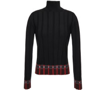 Woman Intarsia-trimmed Ribbed-knit Turtleneck Sweater Black