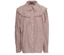 Ruffled Striped Cotton-poplin Shirt Antique Rose