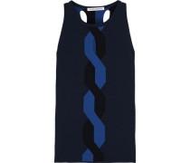 Cutout Stretch-knit Top Cobalt Blue