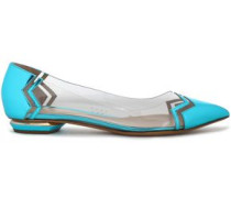 Pvc And Metallic Leather Point-toe Flats Turquoise