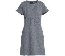 Embossed French Cotton-blend Terry Mini Dress Gray