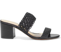 Woman Lanny Crochet And Basketweave Leather Mules Black