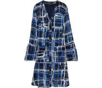 Printed Jacquard Shirt Dress Blue