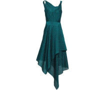 Asymmetric Draped Cotton-blend Cloqué Dress Teal