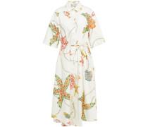 Woman Printed Poplin Midi Shirt Dress Cream