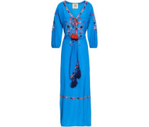 Belted Embroidered Silk Crepe De Chine Maxi Dress Blue