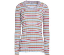 Striped ribbed cotton-blend sweater