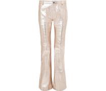Woman Metallic Textured-leather Bootcut Pants Peach