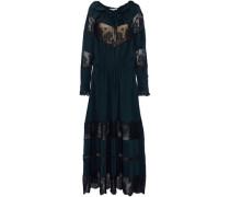 Lace-paneled gathered silk crepe de chine maxi dress