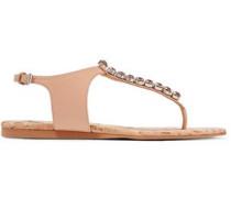 Crystal-embellished faux leather sandals