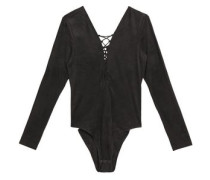 Lace-up Stretch-jersey Bodysuit Dark Gray