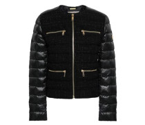 Quilted Shell-paneled Tweed Jacket Black