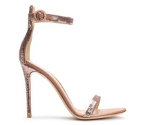 Sequined Silk-satin Sandals Antique Rose