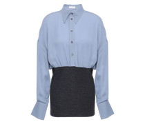 Bead-embellished Silk-crepe And Stretch-wool Shirt Light Blue