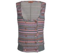 Double-breasted metallic crochet-knit vest
